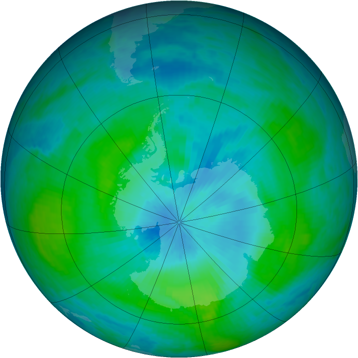 Antarctic ozone map for 14 February 1990